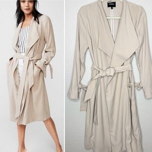EXPRESS Taupe Long Waterfall Trench Jacket